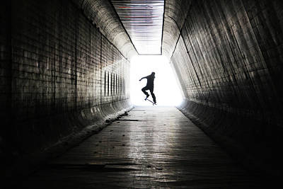 Photograph - Skateboarder At Tunnel by Mgs