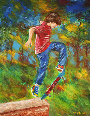 Tennis Shoes Drawing - Skateboarder By Jan Marvin by Jan Marvin