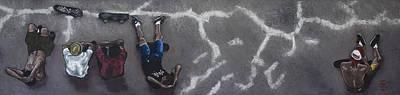 Drawing - Skater Boys by Cristel Mol-Dellepoort