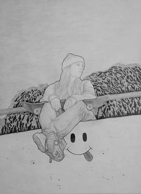 Drawing - Skater Chick 1 Black And White by Aaron El-Amin