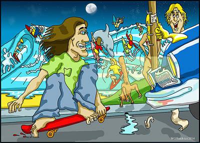 Skateboard Digital Art - Skater Vs Car by Wayne Hutchinson