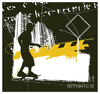 Sign Wall Art - Digital Art - Skater With Grunge Urban Scene by Locote