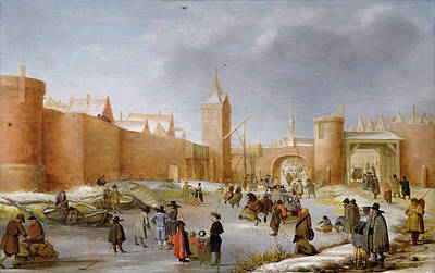 Skaters And Kolf Players Outside The City Walls Of Kampen  Art Print