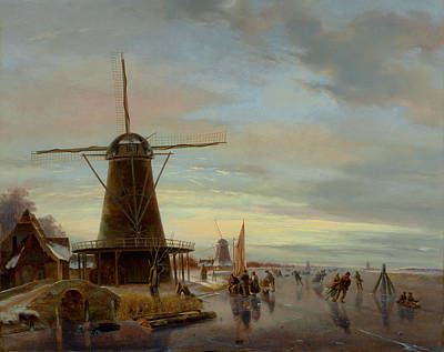 Netherlands Painting - Skaters On A Frozen Waterway by Nicholas Jan Roosenboom