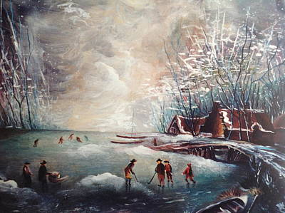 Painting - Skaters On Ice by Egidio Graziani