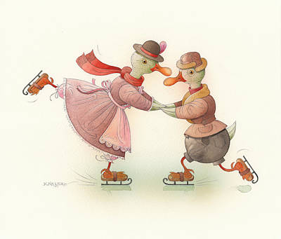 Ducks Painting - Skating Ducks 3 by Kestutis Kasparavicius