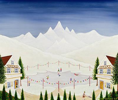 Ski Resort Painting - Skating In St Moritz by Mark Baring