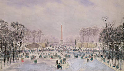 Trees In Snow Drawing - Skating In The Tuileries by Theodore Jung
