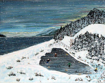 Pond Hockey Painting - Skating On Pond Garden by Barbara Griffin