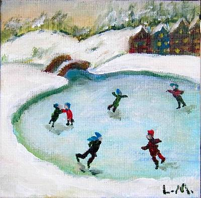 Skating Pond Art Print