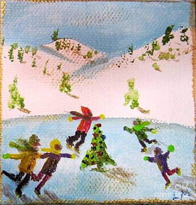 Painting - Skating Round The Tree by Laurie Morgan