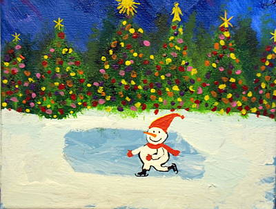 Painting - Skating Snowman by Daniel Nadeau