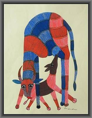 Gond Painting - Skd 105 Doe And A Fawn by Suresh Kumar Dhurve