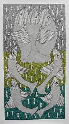 Gond Tribal Art Painting - Skd 307 by Suresh Kumar Dhurve