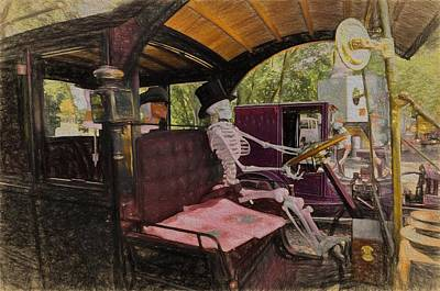 Horror Car Photograph - Skeletal Remains  by L Wright