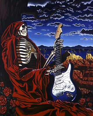 Jerry Garcia Painting - Skeleton Dream by Gary Kroman