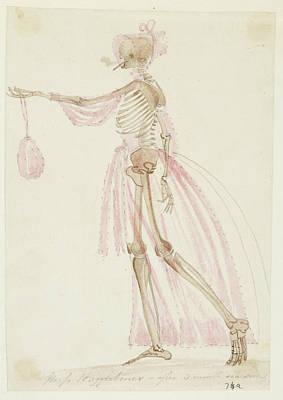 Skeleton In Pink Dress Art Print