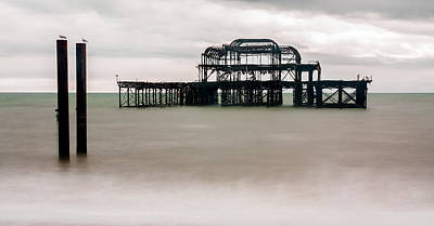 Photograph - Skeleton Of West Pier At Brighton by Semmick Photo