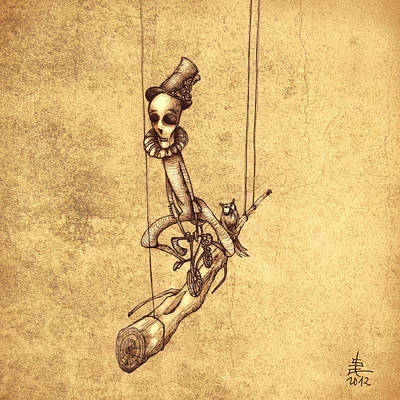 Illustration Drawing - Skeleton On Cycle by Autogiro Illustration