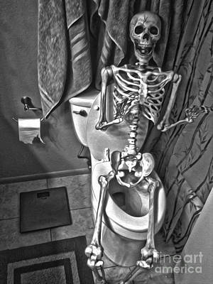 Painting - Skeleton On The Crapper by Gregory Dyer