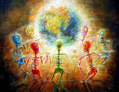 Earth Day Painting - Skeleton Peace Ring by Heather Calderon