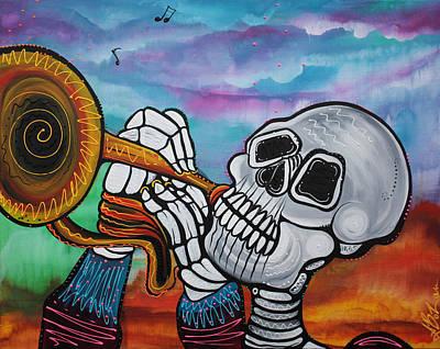 Horizon Painting - Skeleton Serenade by Laura Barbosa