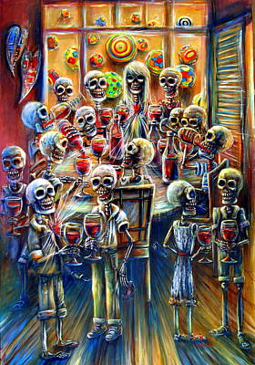 Fiesta Painting - Skeleton Wine Party by Heather Calderon