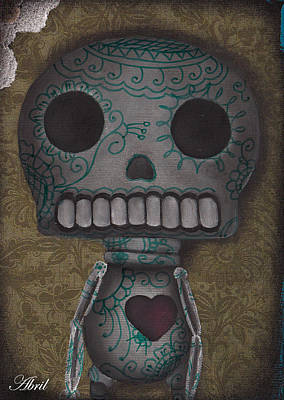 Painting - Skelly With A Heart by  Abril Andrade Griffith