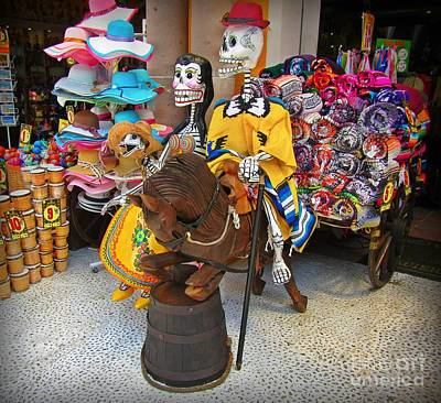 Drum Horse Photograph - Skelton Riding A Wooden Horse  by John Malone