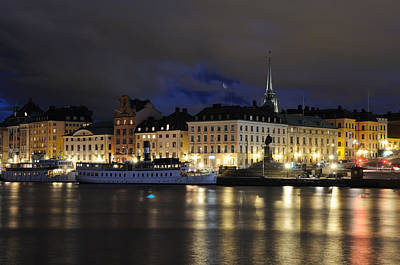 Art Print featuring the photograph Skeppsbron At Night by Jeremy Voisey