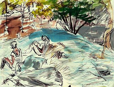 Drawing - Sketch Artists In Central Park by Edward Ching