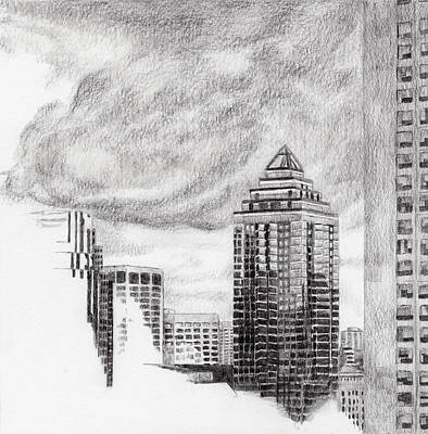 Montreal Cityscapes Drawing - Sketch For Blue Glow by Duane Gordon