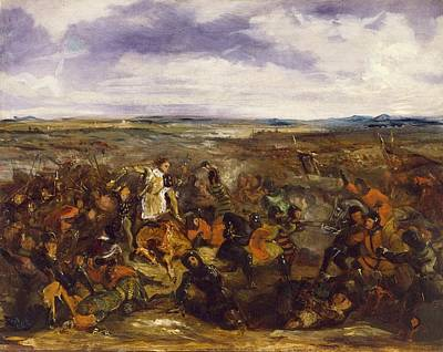 Sketch For The Battle Of Poitiers Art Print by Eugene Delacroix