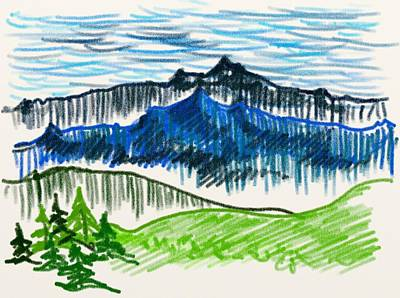 Snow Scene Landscape Drawing - Sketch Landscape by Jozef Jankola
