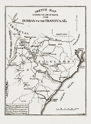 Sketches Map Drawing - Sketch Map Showing The Road From Durban To The Transvaal by Litz Collection