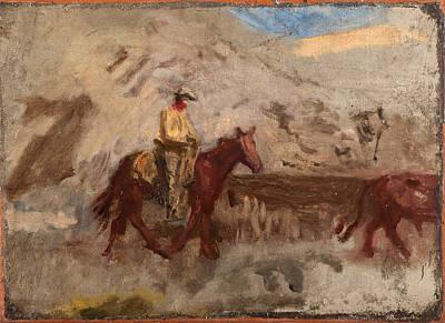 Sketch Of A Cowboy At Work Art Print