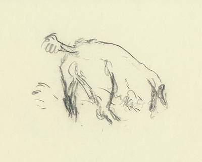 Pets Digital Art - Sketch Of A Dog Digging A Hole by Carl Oscar August Erickson
