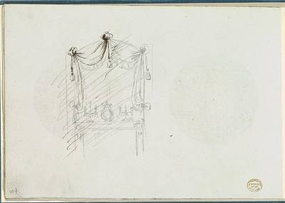 Sketch Of A Fireplace With A Mirror Art Print by Anonymous, French, 18th century