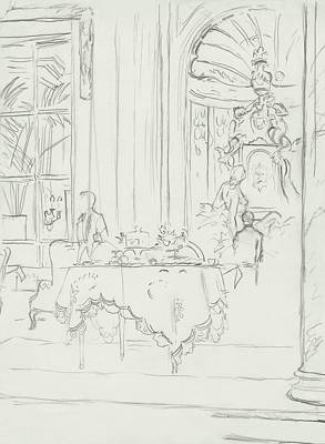 Food Digital Art - Sketch Of A Formal Dining Room by Carl Oscar August Erickson