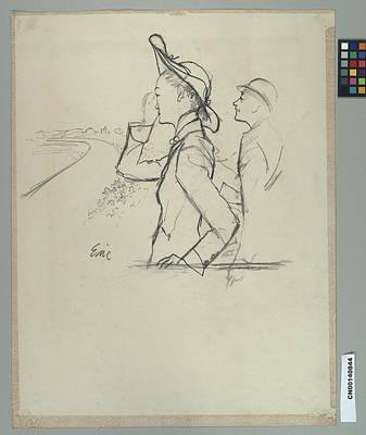 Sketch Of A Woman And Man Wearing Hats Print by Carl Oscar August Erickson