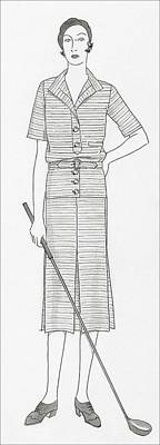 Sketch Of A Woman Holding Golf Club Print by Polly Tigue Francis