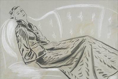 Sketch Of A Woman Wearing A Matelasse House Robe Art Print