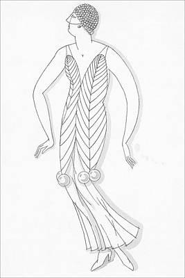 Sketch Of A Woman Wearing White Mistletoe Costume Art Print by Robert E. Locher