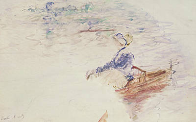 Boats In Water Drawing - Sketch Of A Young Woman In A Boat by Berthe Morisot