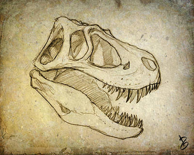 Triassic Drawing - Sketch Of Jane's Skull by Paul Gioacchini