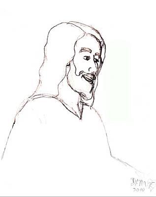 Smiling Jesus Drawing - sketch of Jesus by Dawna Morton