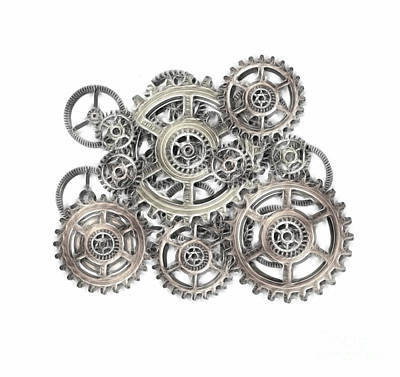 Cogs Mixed Media - Sketch Of Machinery by Michal Boubin