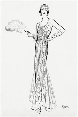 Evening Gown Digital Art - Sketch Of Munoz Wearing Evening Gown by Ren? Bou?t-Willaumez