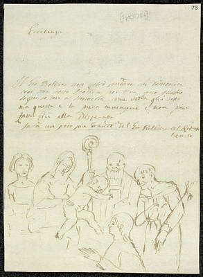 Baptising Photograph - Sketch Of Old Master Painting by British Library