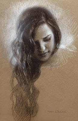 Thoughtful Drawing - Sketch Of Samantha by Karen Whitworth